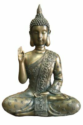 Thai Buddha Sitting Meditating Ohm Home Decor Outdoor Feng Shui Bronze