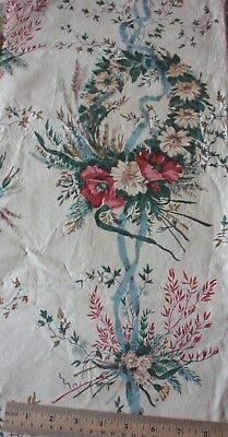 "Antique French Or English Chintz Fabric Floral Wreaths, Bows & Ribbons~42""X24"""