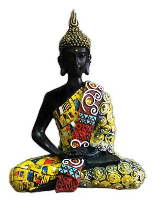 Yellow Colorful Thai Buddha Sitting Meditating Thai Home Decor Outdoor Feng Shui