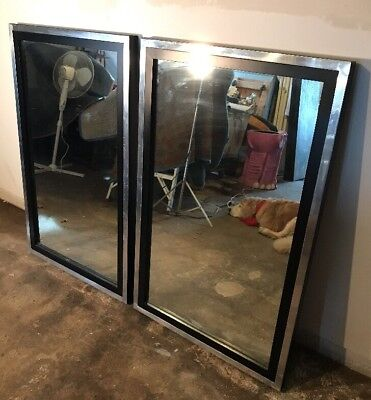 MCM Large Pair Of 1970's Black And Brushed Aluminum Mirrors
