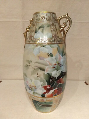 """M NIPPON Hand Painted GOLD MORIAGE Bead Floral Window 12"""" VASE Large Scroll LILY"""