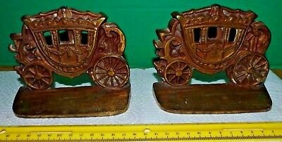 "Antique Heavy Cast Brass STAGE COACH BOOKENDS 5"" x 4"" 1930's (?) Free Shipping"