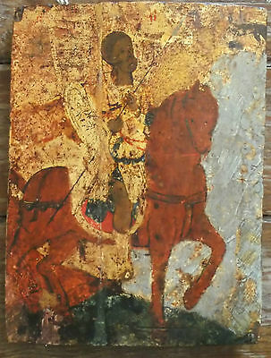 Antique Greek  icon of Cretan school 16th century , Saint Eustace (Efstathios)