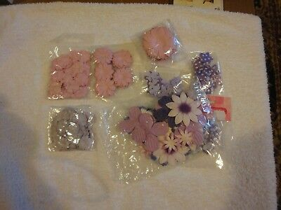 Scrapbooking and Papercraft Flower Embellishments Shades of Purple