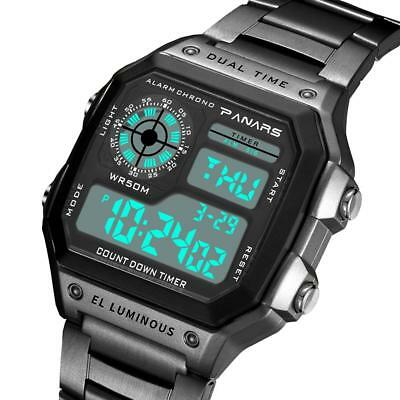 Fashion Analog-Digital Sport LED Date Stainless Steel Quartz Men's Wrist Watches