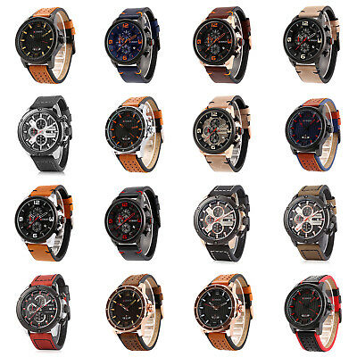 Fashion CURREN Genuine Leather Watch Mens Luxury Sport Date Analog Army Military