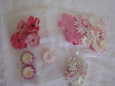 Scrapbooking and Papercraft Flower Embellishments Shades of Pink