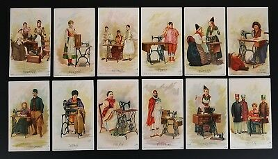 1893 Antique Singer Sewing Co Costumes All Nations 36 Advertising Trade Cards