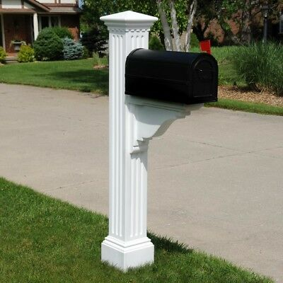 Mail Box Manchester Posts Stand White Fade Resistant Vinyl Decorative 16 lb.