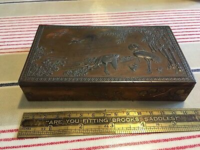 Japanese? Cigarette / Card Box Embossed With Cranes? And Bamboo
