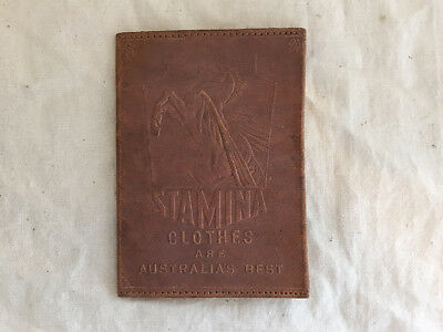 Vintage Stamina Clothes Crusader Cloth Leather Card Wallet Advertising Free Post