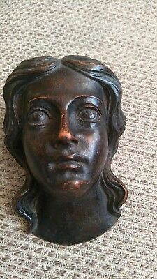 CARVED WOODEN HEAD 19th Century ARCHITECTURAL