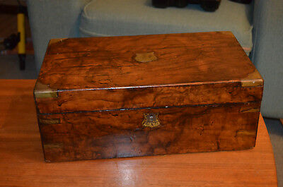 Antique brass bound writing slope for restoration still contains the slopes.