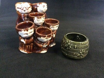 Job Lot Of Vintage Ceramic Pieces Egg holder Bee designed Pot Retro, Collectable