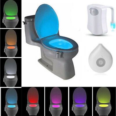 8-Color LED Motion Sensing Automatic Toilet Night Light Activated Color Bathroom