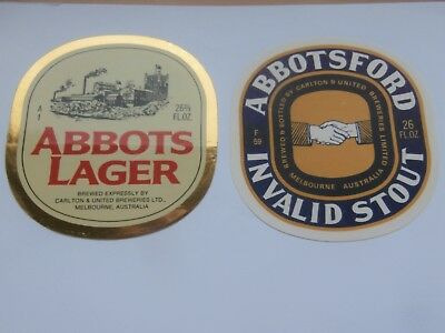 2 VINTAGE AUSTRALIAN beer labels ABBOTS Lager peel off, ABBOTSFORD  invalid