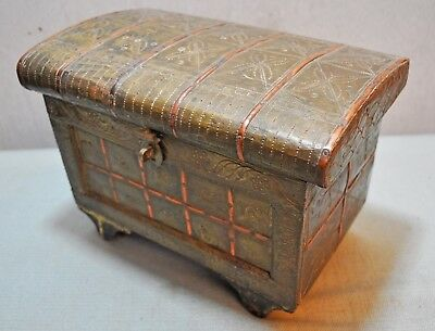 Original Old Vintage India Hand Crafted Brass Fitted Wooden Jewelry box