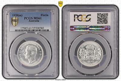1938m Australia Florin 2/- PCGS GRADED - MS61 - 583