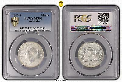 1943-S Australia Florin 2/- PCGS GRADED - MS61 - 582