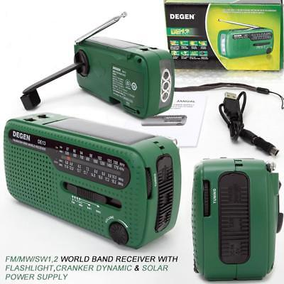 DE13 FM Radio FM MW SW Crank Dynamo Solar Emergency Radio World Receiver LED