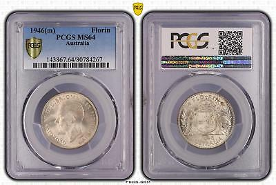 1946m Australia Florin 2/- PCGS GRADED - MS64 - 267