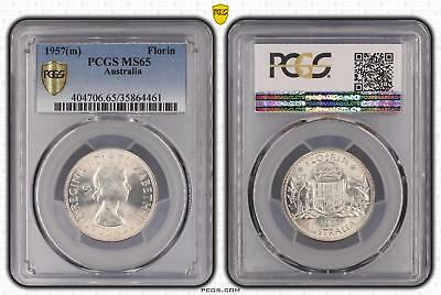 1957m Australia Florin 2/- PCGS GRADED - MS65 - 461