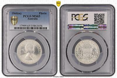 1960m Australia Florin 2/- PCGS GRADED - MS65 - 456