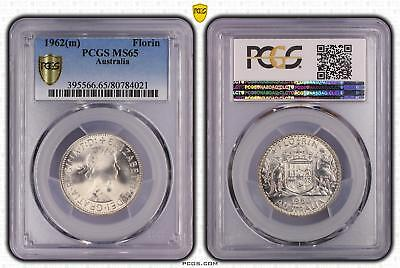 1962m Australia Florin 2/- PCGS GRADED - MS65 - 021