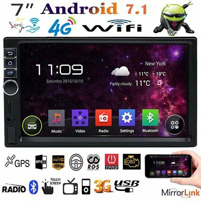 """7"""" Touch Screen 2 DIN Android 7.1 3G/4G/WIFI Car Radio Stereo MP5 Player GPS NT"""