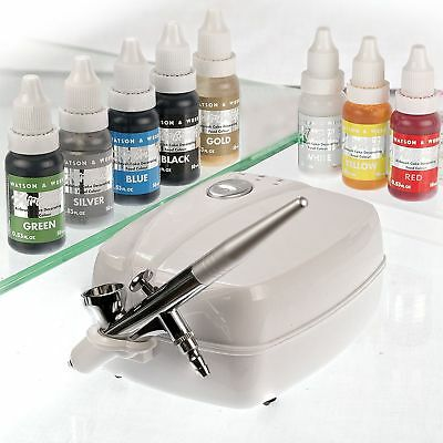 Airbrush Cake Decorating Kit Watson & Webb Ltd LA1 Includes 8 Colours