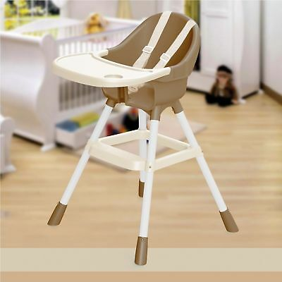 Dolu Brown & White High Chair Infant Child Feeding Seat Bib Tray Safety Belt NEW