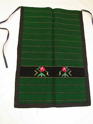 Green Apron ~ Folk Costume ~ Lovely Embroidery Delicate Flower