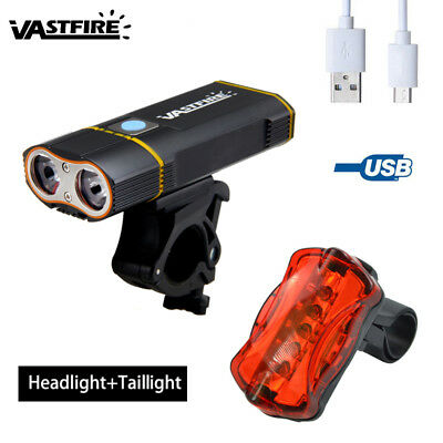 2x T6 10000LM LED Mountain Bike Head Light USB Rechargeable Front+Rear Lamp Set