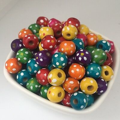 50X Multi Colour Polka Dot Wooden Beads 10x8mm Mixed Lot DIY Round Wood Bead
