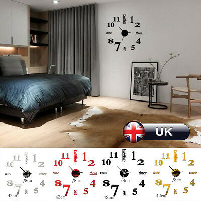 3D DIY Wall Clock Large Luxury Mirror Design Home Decoration Black Silver Gold