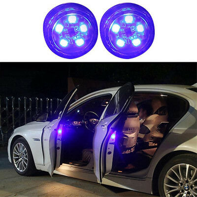5LED Car Door Warning Light Wireless Anti Rear Collision Lamp Kit Blue Flash 2pc