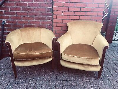 Pair of Edwardian Lady and Gentleman's Armchairs