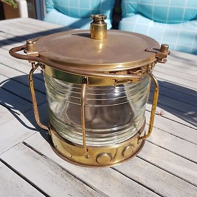 Vintage ship's lantern / Maritime signal lamp. Copper and brass.