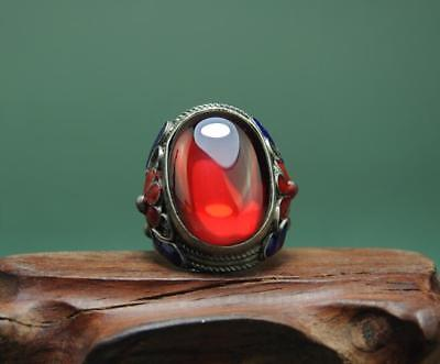 China Antique Hand-Made Tibetan Silver Inlay Cloisonn & Red Zircon Ring A02