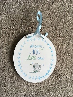 New Baby Blue & White Dream Big Little One, Elephant. Hanging