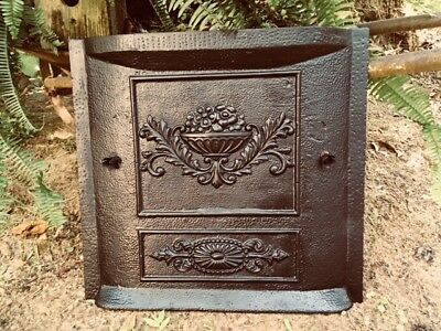 Antique Cast Iron Fireplace Cover  Wreath With Fruit Bowl
