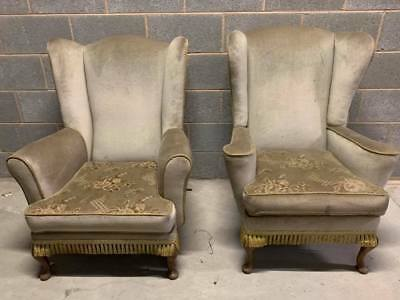 Pair of Vintage Retro Wing Back Armchairs