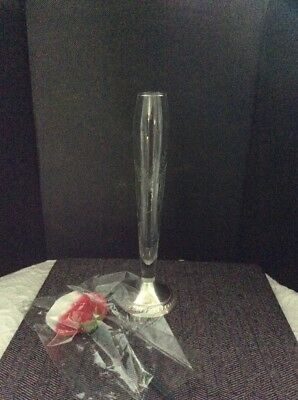 "Duchin Creation Weighted 925 Sterling Silver Etched Glass Bud Vase, 10"" Tall"