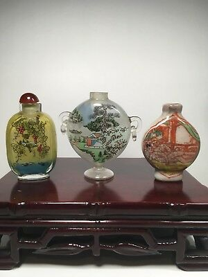 Lot Of 3 Vintage Chinese Snuff Bottles