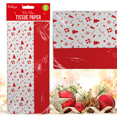 10 Large Christmas Tissue Paper Sheet Red & White Festive Icon 2 Designs Wrap