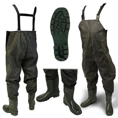 NEW 100% Waterproof Green PVC Carp Coarse Fly Fishing Chest Waders ALL SIZES