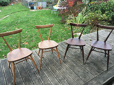 Four Ercol adult stacking chairs for sanding and refinishing.