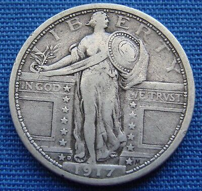 "*nice Looking 1917-D Standing Liberty Quarter Type 1 ""good Date"" - Estate Fresh*"
