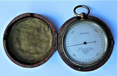 NO RESERVE c1890 Victorian Brass Pocket Barometer Vintage Antique
