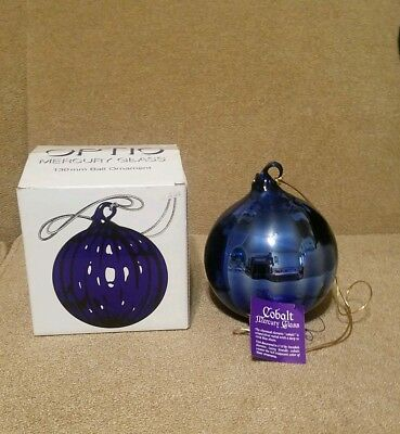 NIB Department 56 XL Cobalt Blue Mercury Glass Hand Blown  Ornament w/Tag  17""